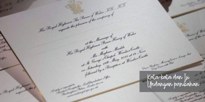Teks atau Kata-Kata pada Isi Undangan Pernikahan