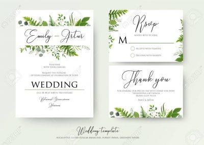 Wedding Invitation, floral invite, thank you, rsvp modern card D