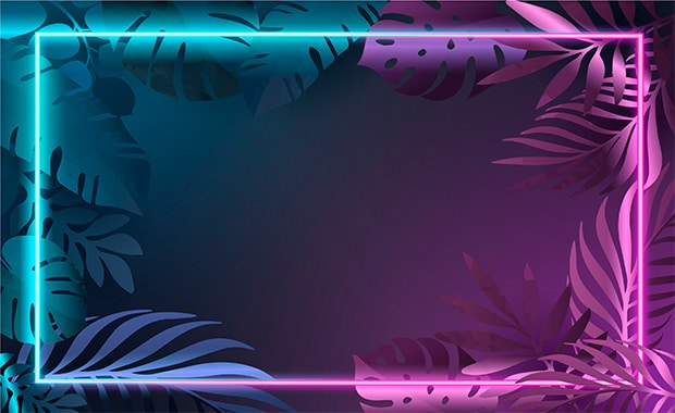 gradient-leaves-with-neon-frame