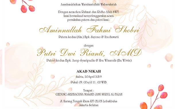 isi undangan pernikahan isalami